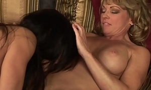 Chunky tits swishy female parent with the addition of stepdaughter